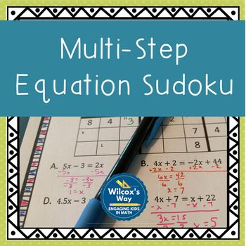 Multi Step Equation Sudoku Game | Pinterest | Equation, Equals sign ...