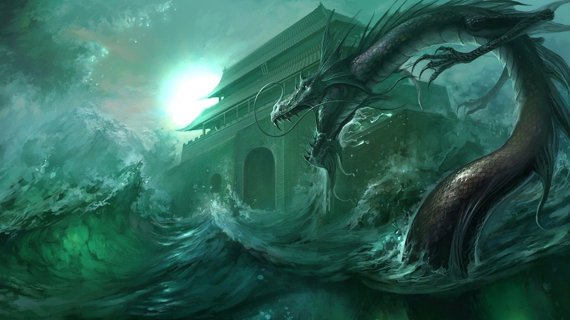 Fantasy Creature Wallpaper Wasserdrache Seeungeheuer Drachen Bilder
