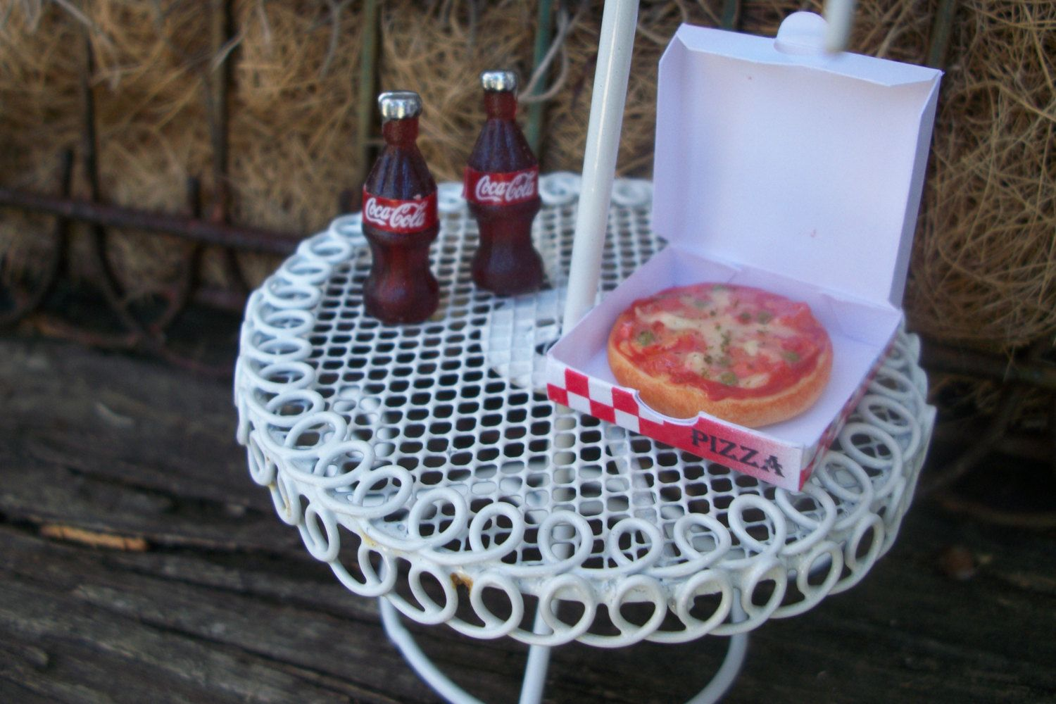 Miniature Fairy Garden Pizza in Box and Two Coke A Cola Bottle Drinks Polymer Clay Resin Food Accessory Supply 4 Piece Set by fairyinthegarden1 on Etsy