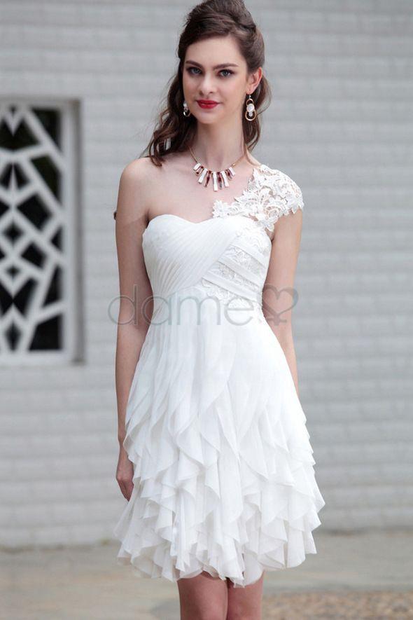 Eine Schulter Chiffon A-Linie Durchsichtiger Rücken Empire Taille romantisches ärmelloses Abschlusskleid