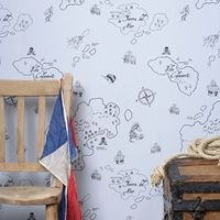 Pirate Wallpaper Black Grey | Hibou Home Wall Paper | Pirate Wall Paper | Pirate Themed Rooms | Pirate Bedroom Ideas | Available at Cuckooland