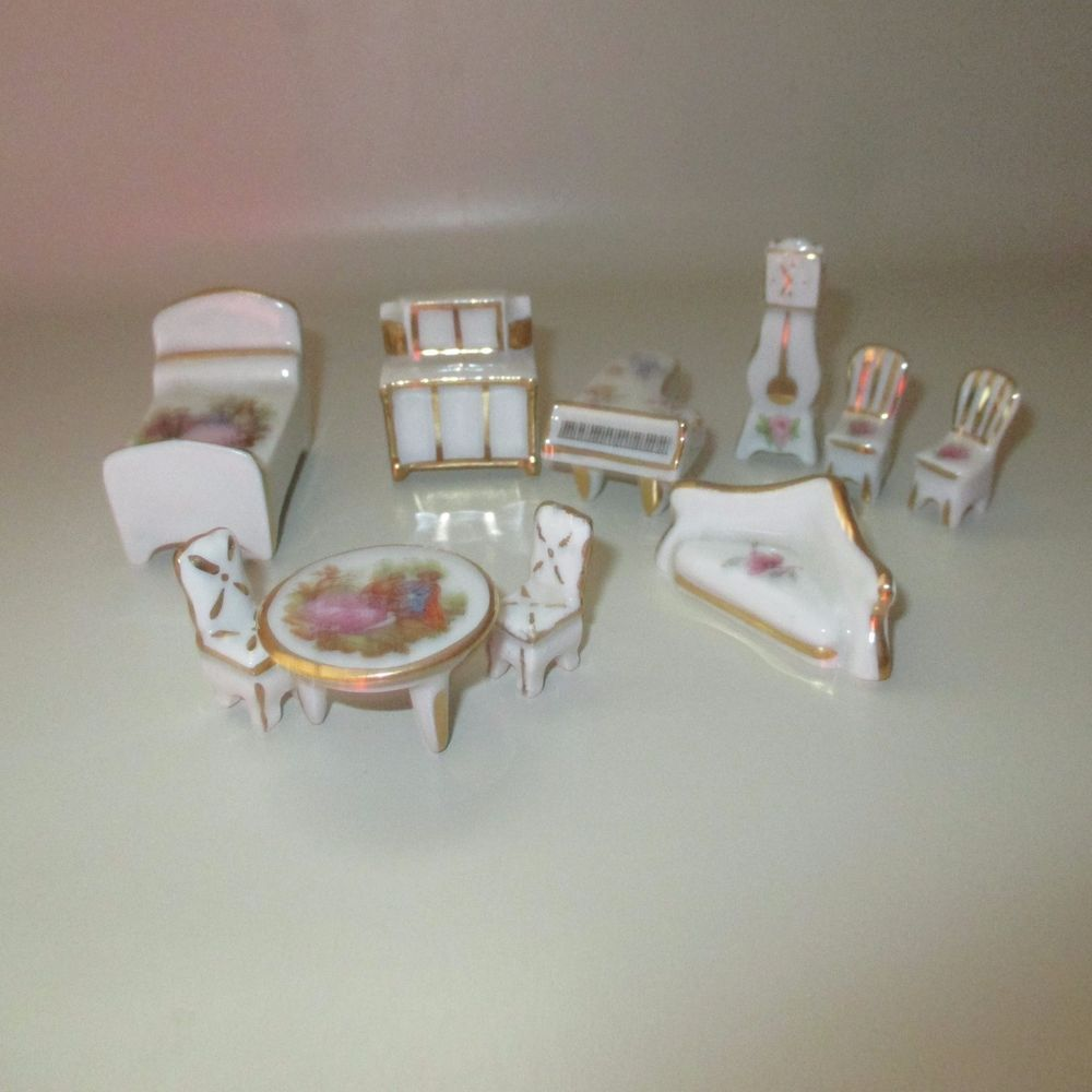Beautiful Limoges Fine China Miniature Dollhouse Furniture Hand Painted 10  Piece