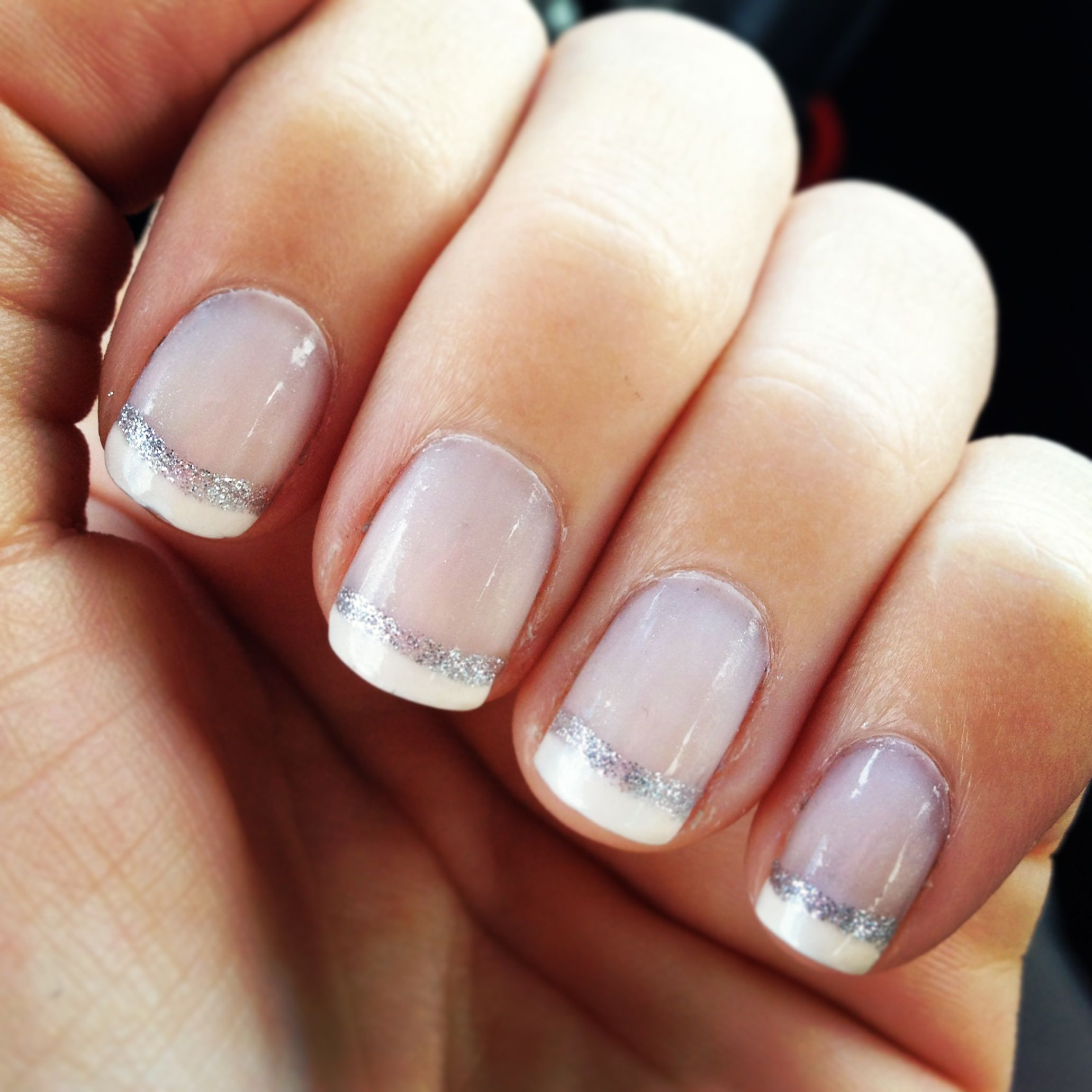 diy french manicure with a line of glitter for a classy finished look want this with an accent. Black Bedroom Furniture Sets. Home Design Ideas