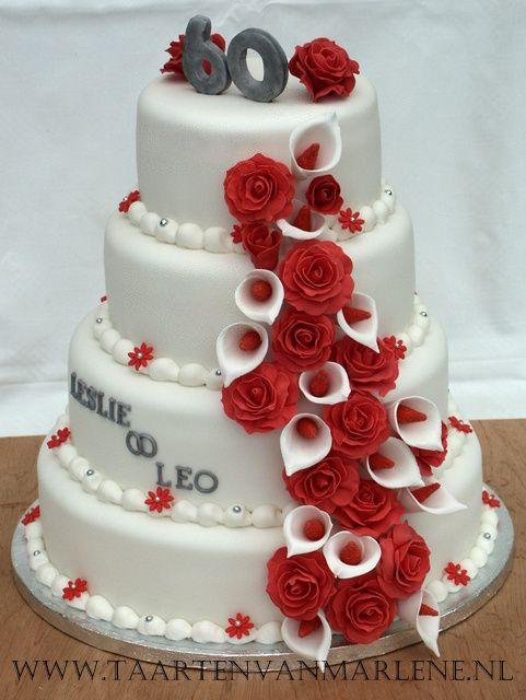 Spiksplinternieuw 60 jaar getrouwd: Rond 30, 25, 20 en 15 cm. Vulling luxe aardbeien RD-26