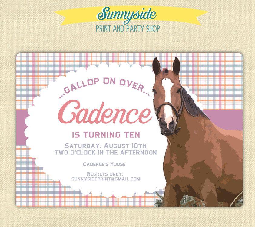 Girls Horse Birthday Party Invitation - Printable Horse Birthday ...