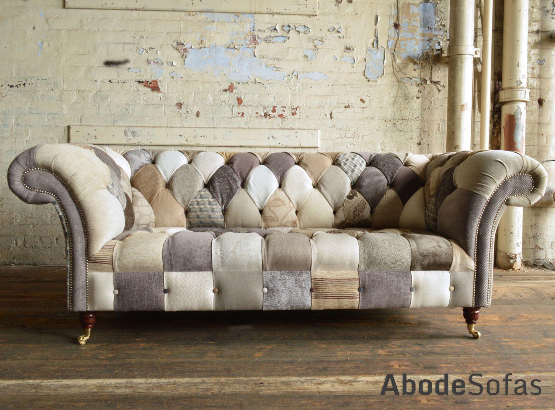 Modern British Handmade Beige Cream Patchwork Chesterfield Sofa