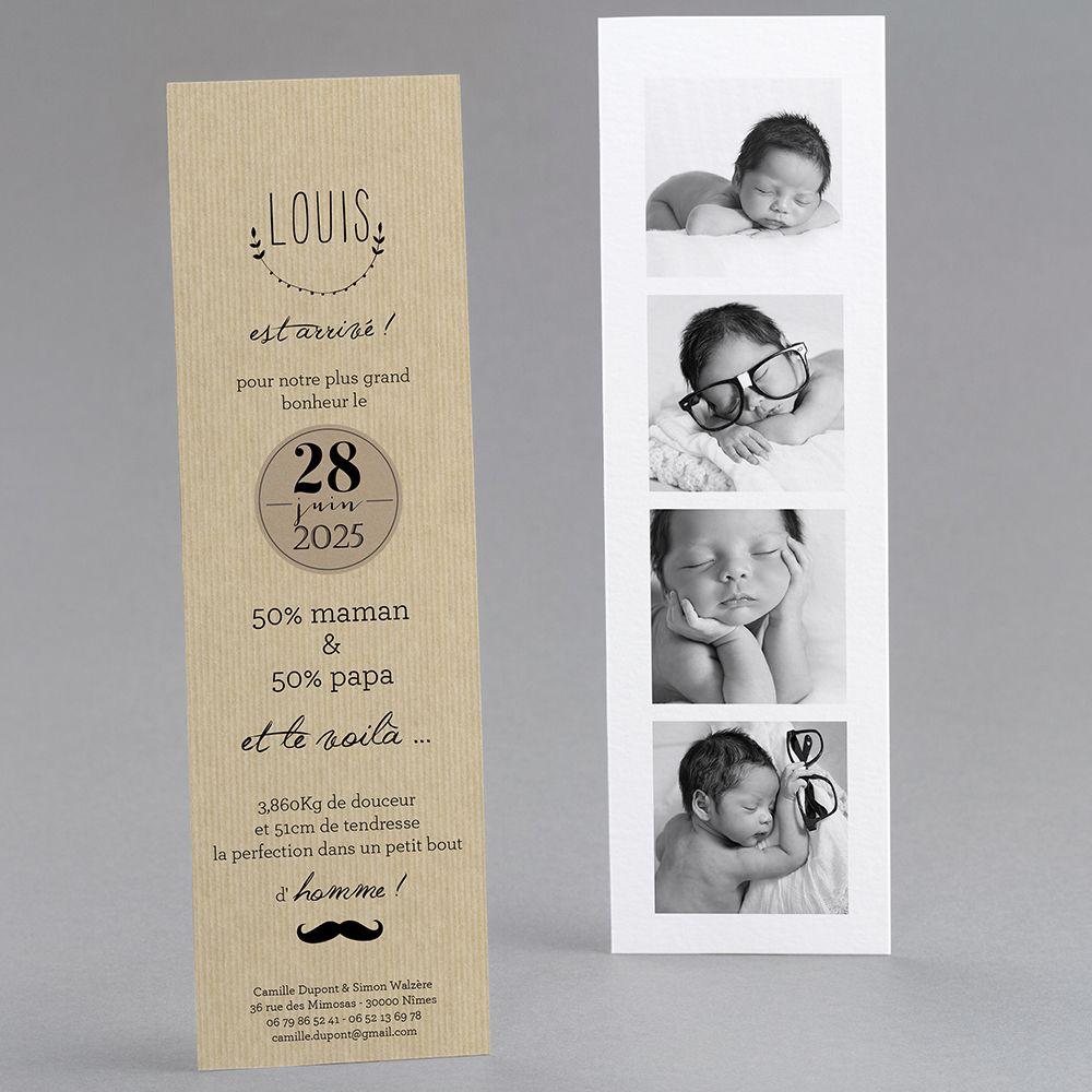 Top Faire-part de naissance personnalisés, faire-partardoise, vintage  UN58