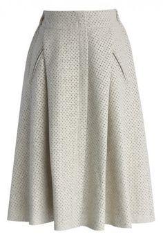 Eyelet Faux Suede Midi Skirt In Off White Fashion Skirt Fashion Unique Fashion
