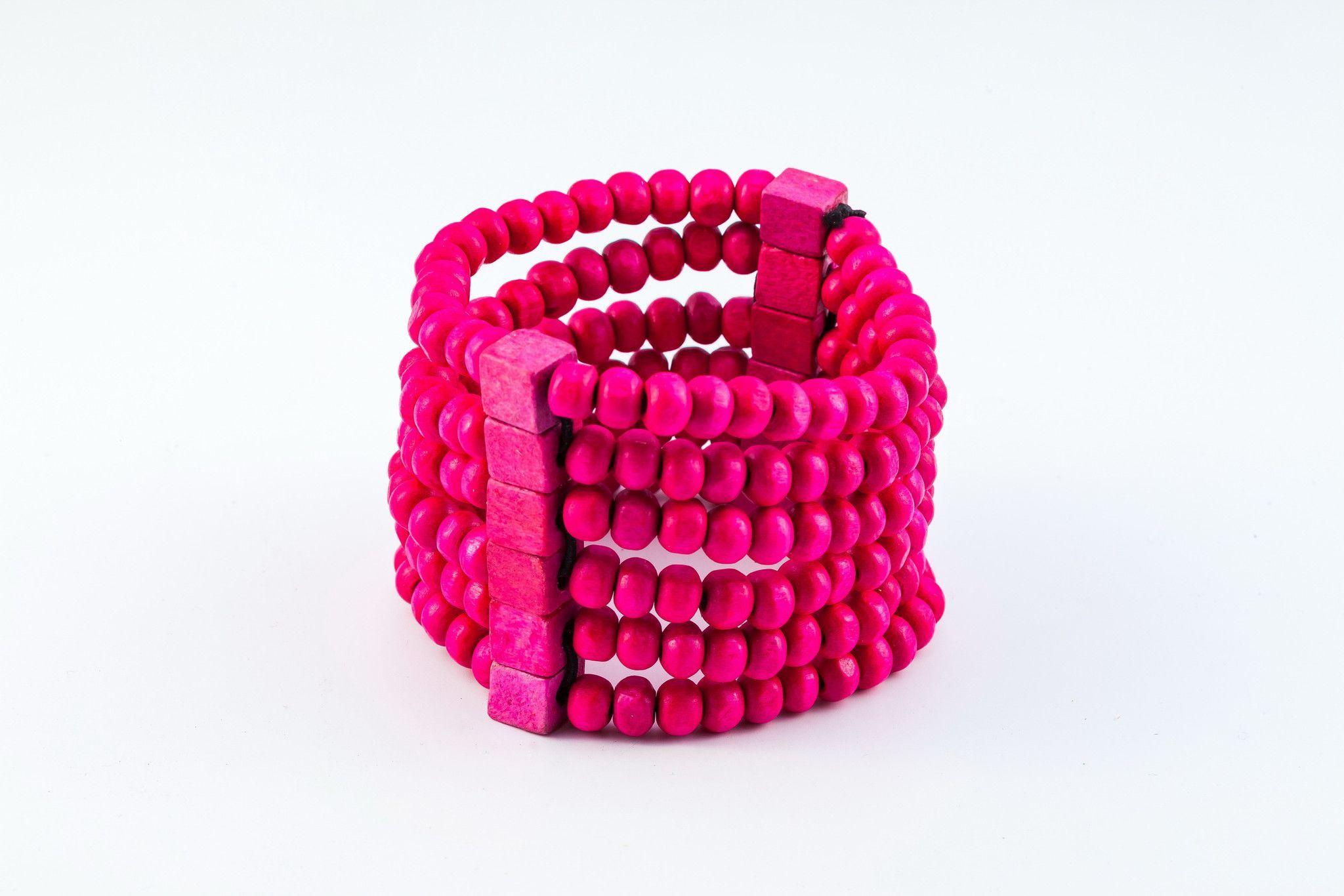 Pink Elastic Bracelet Wood Beaded Mala Style Fair Trade