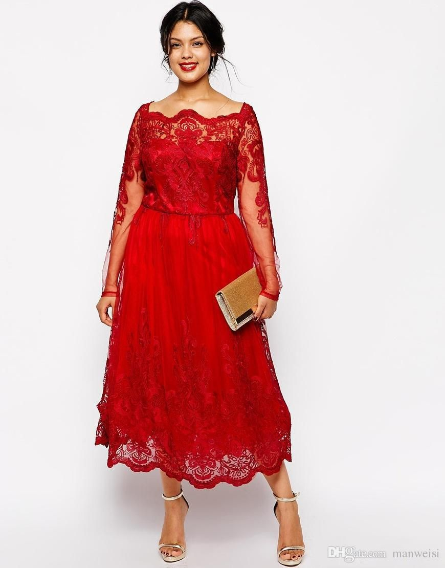 Plus Size Red Evening