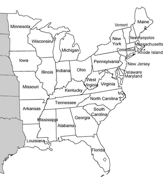 Eastern States Answer Key And Map Reading Worksheet Geography - Map of the eastern us