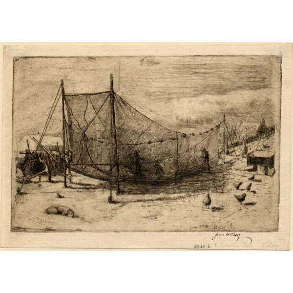 Mending Nets, Portsoy, 1903  by James McBey LLD   Etching on paper     Aberdeen Art Gallery and Museums  Accession Number: ABDAG00145