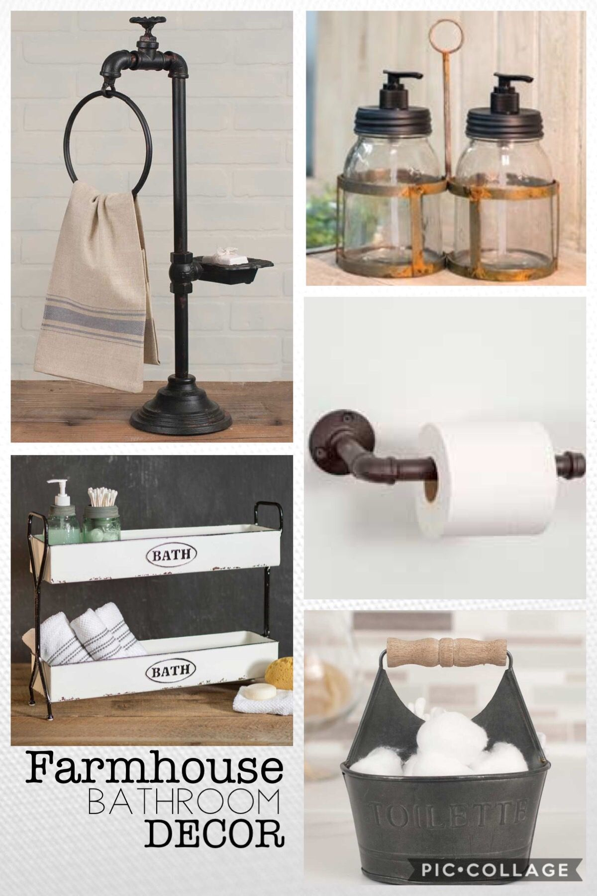 Farmhouse bathroom decor industrial rustic country towel holder caddy toilet paper holder