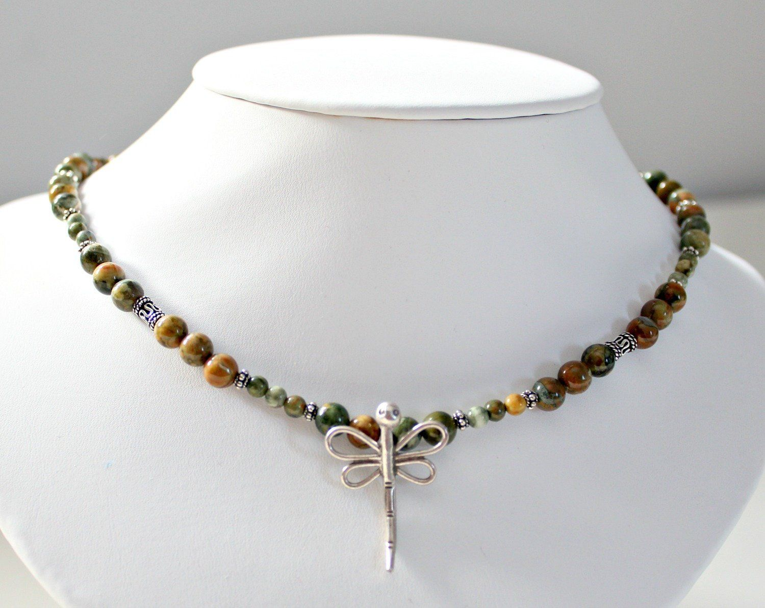 Rainforest Jasper Dragonfly Necklace Daughter In Law Retirement Gift Mother Birthday Gifts 50th For Women