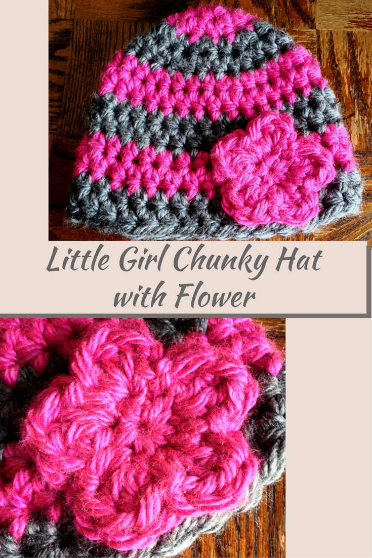 Little Girl Chunky Hat With Flower Accent Crochet