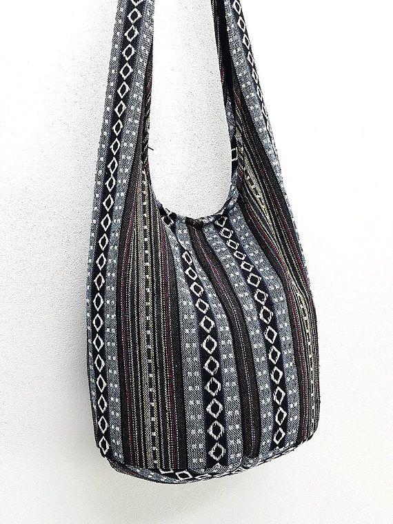 Woven Cotton Bag Hippie Hobo bag Boho bag Shoulder bag Sling bag Messenger  bag Tote Crossbody bag Pu 7a3457e35f775