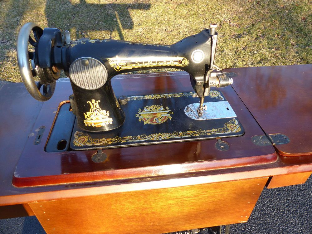 Singer Sewing Machine Antique Leather Belt Driven Original Stand Amazing Singer Sewing Machine Belts