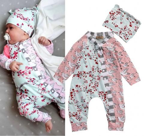 Newborn Baby Girl Clothes Long Sleeve Floral Romper Jumpsuit Overall Outfits Set