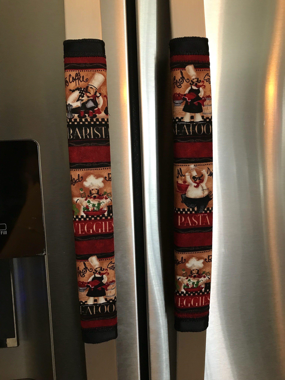 Refrigerator Door Handle Covers Set Of Two Chef Theme 13 L X 4 5 5 W Kitchen Refrigerator Handle Covers In 2019 Door Handles Kitchen Refrigerator Re