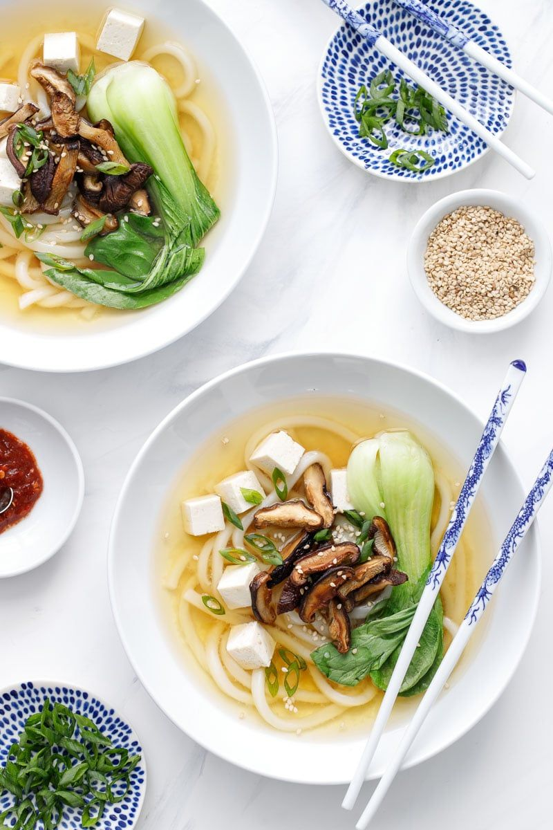 Ginger Miso Udon Noodle Soup Recipe with Roasted Mushrooms and Bok Choy