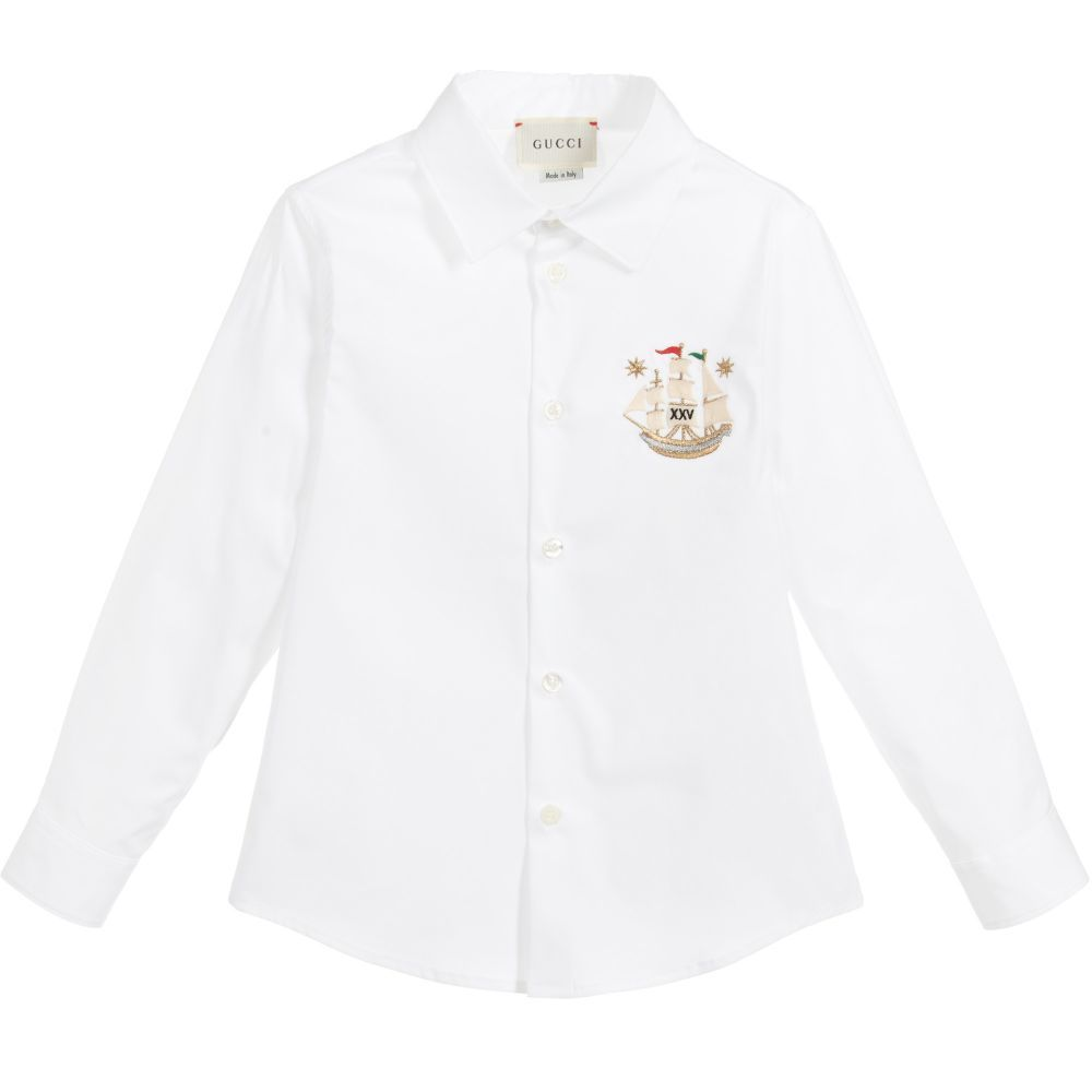 0ab29075e53 Boys luxurious white shirt from Gucci