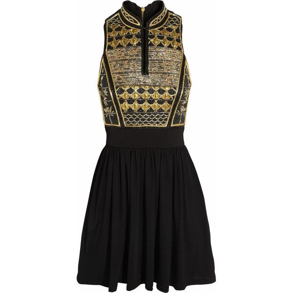 Balmain Embellished jersey mini dress ($1,880) ❤ liked on Polyvore featuring dresses, balmain, short dresses, black, balmain dress, loose mini dress, keyhole dress, colorful dresses and loose dresses
