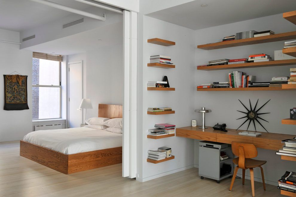 Floating Shelves Office Bedroom Contemporary With Neutral Tones Wood Bed Neutral Tones Jpg 990 658 Bedroom Office Combo Home Office Bedroom Shelves Above Desk