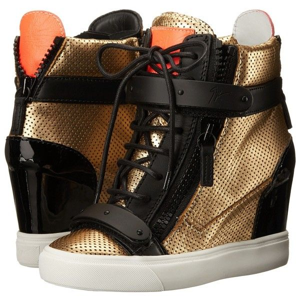Giuseppe Zanotti RS5112 ($1,050) ❤ liked on Polyvore featuring shoes, metallic, sneakers & athletic shoes, velcro strap shoes, lace up shoes, hidden wedge shoes, laced up shoes and metallic shoes