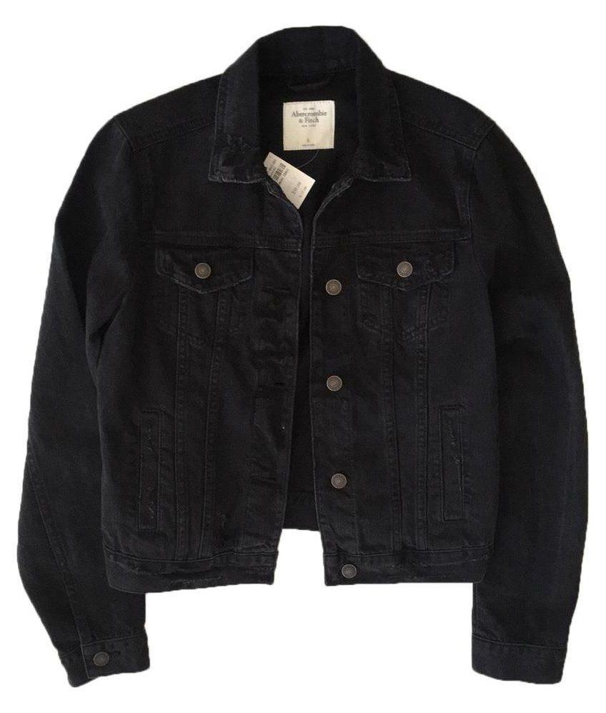 Abercrombie Fitch Black Distressed Jean Jacket Size 4 S Black Jean Jacket Blackjeanja In 2021 Distressed Black Jeans Distressed Jean Jacket Black Jean Jacket [ 998 x 848 Pixel ]