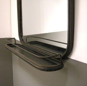 Grand miroir rectangulaire en m tal noir avec tablette for Miroir rectangulaire noir