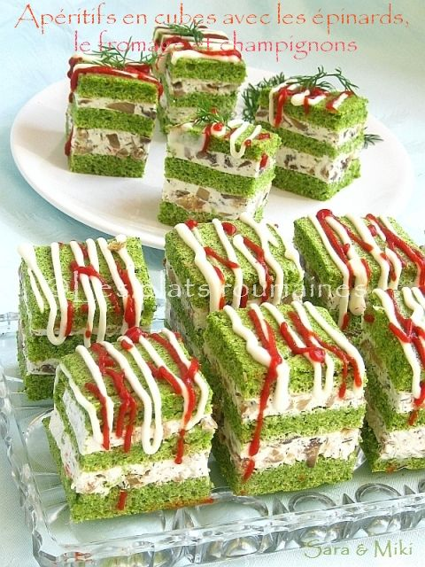 Photo of Romanian dishes: Appetizers in cubes with spinach, l …