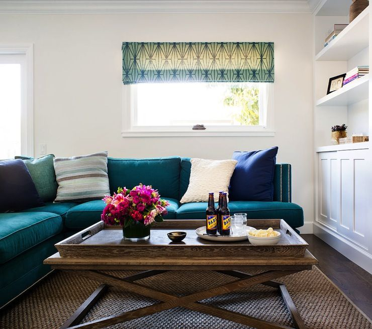 living rooms - kelly wearstler katana jade/teal roman shade