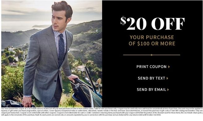 Jos A Bank Coupon 20 Off Your Purchase Of 100 Print Coupons Coupons 20 Off