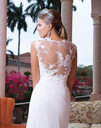 Wedding dress with illusion lace back  #flowers #bride