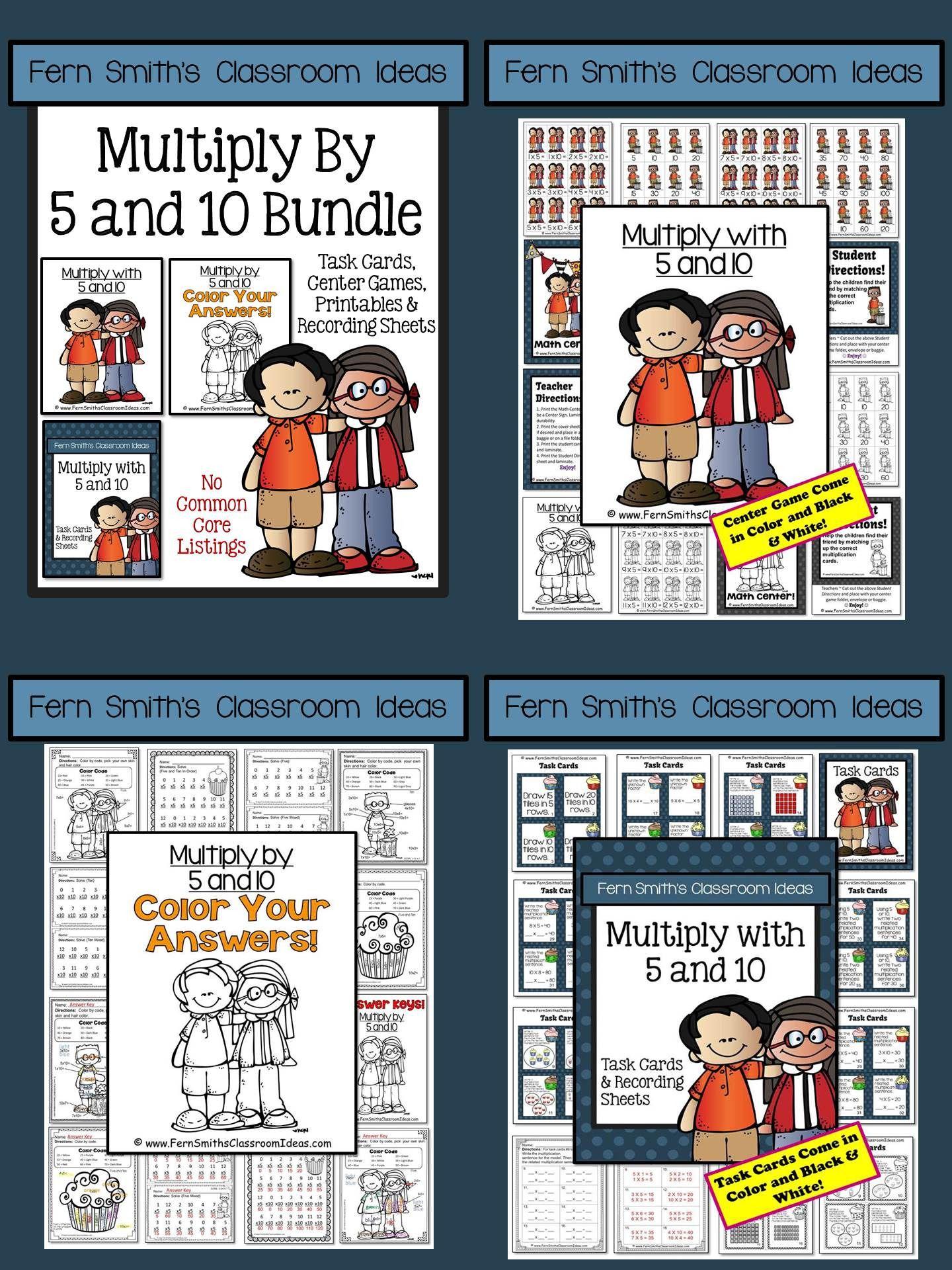 3rd Grade Go Math 4.2 Multiply 5 & 10 Task Cards Center ...