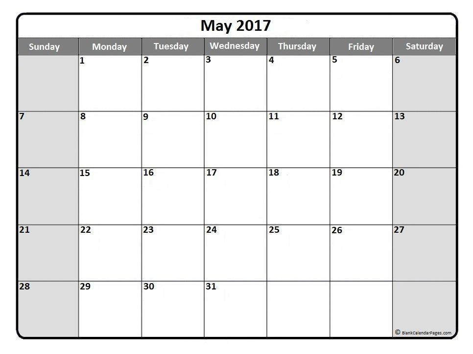May  Monthly Calendar Printout  Printable Calendars