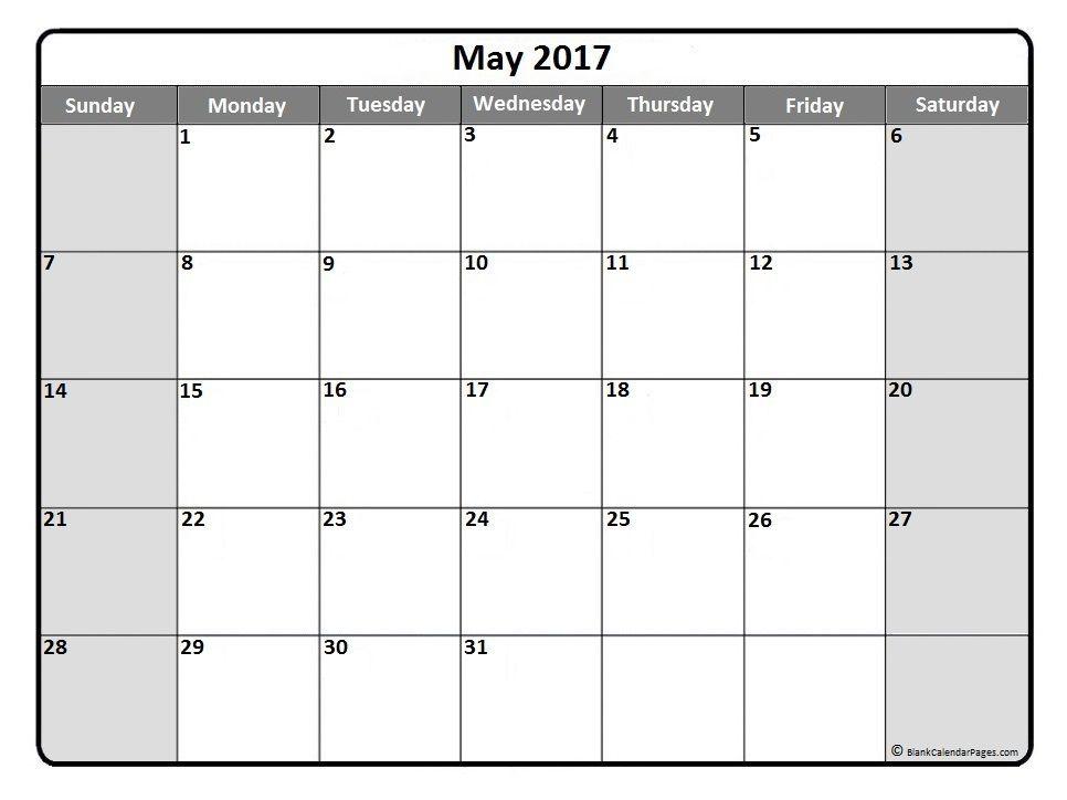 May 2017 monthly calendar printout | 2017 Printable calendars ...