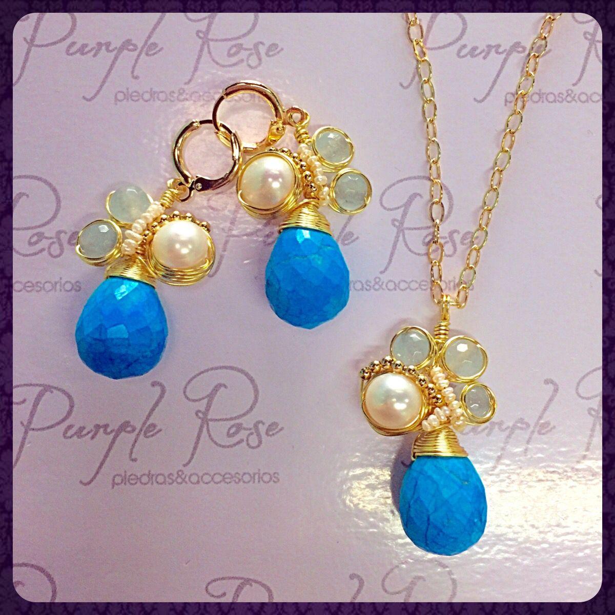 c541a3a01f4e Juego de collar y aretes alambrados de turquesa con perla de rio ...