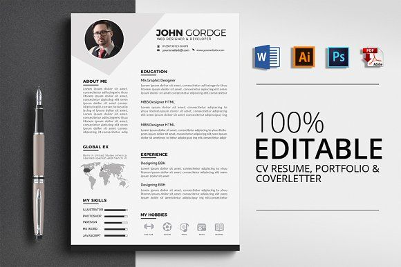 CV Resume Template, Resume cv and Business cards