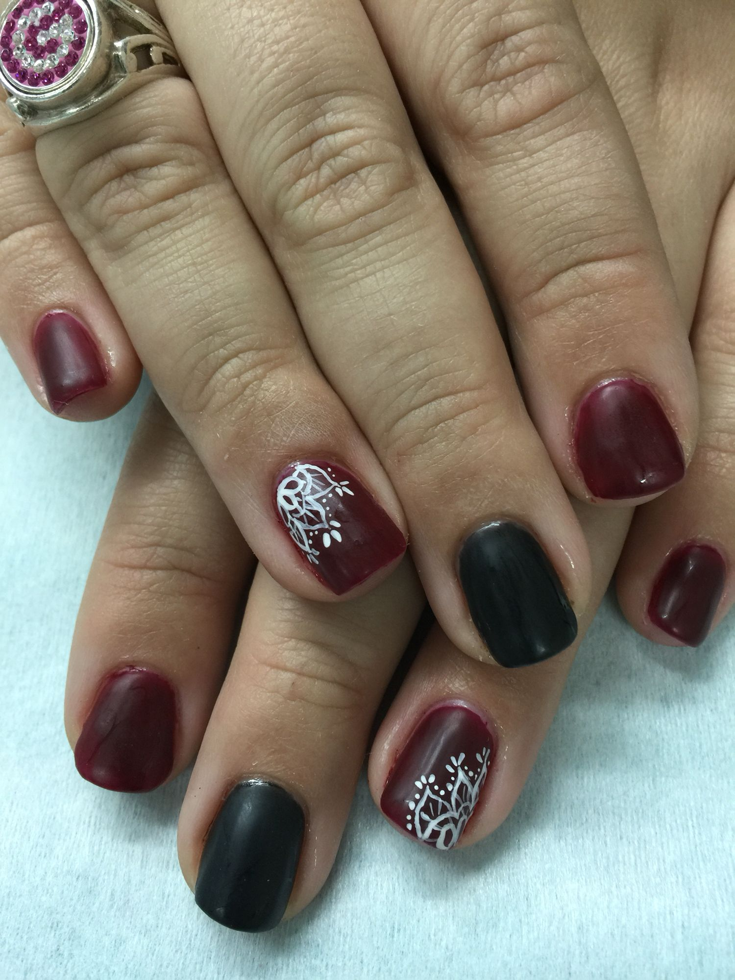 Matte Burgundy/Wine white lace gel polish over non-toxic odorless ...
