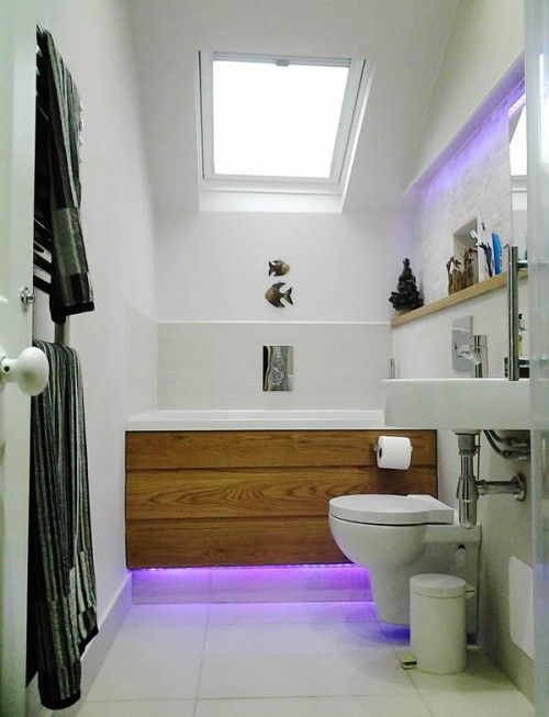 The Calyx in a small bathroom, with wooden panel and underlighting ...
