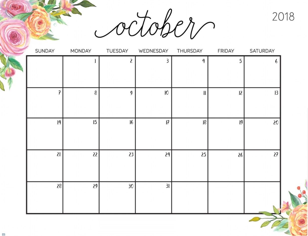 October 2018 Floral Calendar Free Printable Calendar Templates