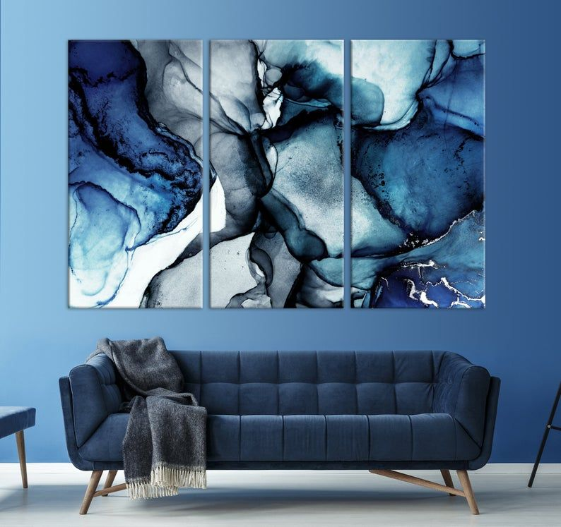 Blue Marble Wall Art Navy Blue Wall Decor Abstract Canvas Etsy Blue Wall Decor Living Room Blue Wall Decor Wall Art Living Room