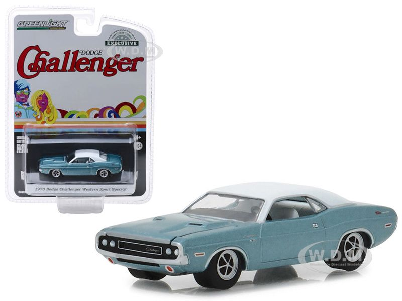 1970 dodge challenger blue with white top western sport