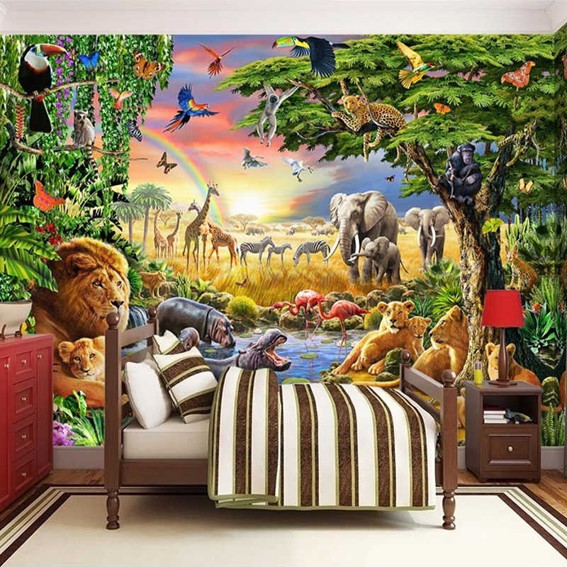 Custom Photo Mural Non Woven Wallpaper 3d Cartoon Grassland Animal Lion Zebra Children Room Bedroom Home Decor Wall Painting Mural Wallpaper Photo Mural Mural