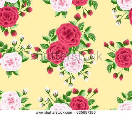 Seamless Pattern In Cute Red And White Flowers Of Lovely Roses Fresh Branches Floral