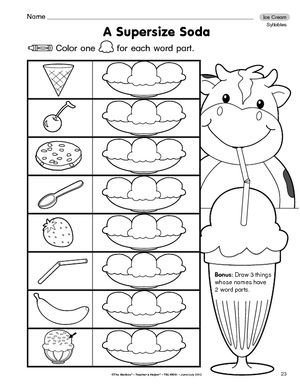 ice cream cone addition worksheet the education center. Black Bedroom Furniture Sets. Home Design Ideas