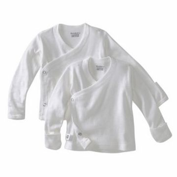 Gerber Infant-and-Toddler-Hoodies 2-Pack Long-Sleeve Side-snap Mitten-Cuff Shirt Baby-Girls Baby-Boys Unisex-Baby Newborn White