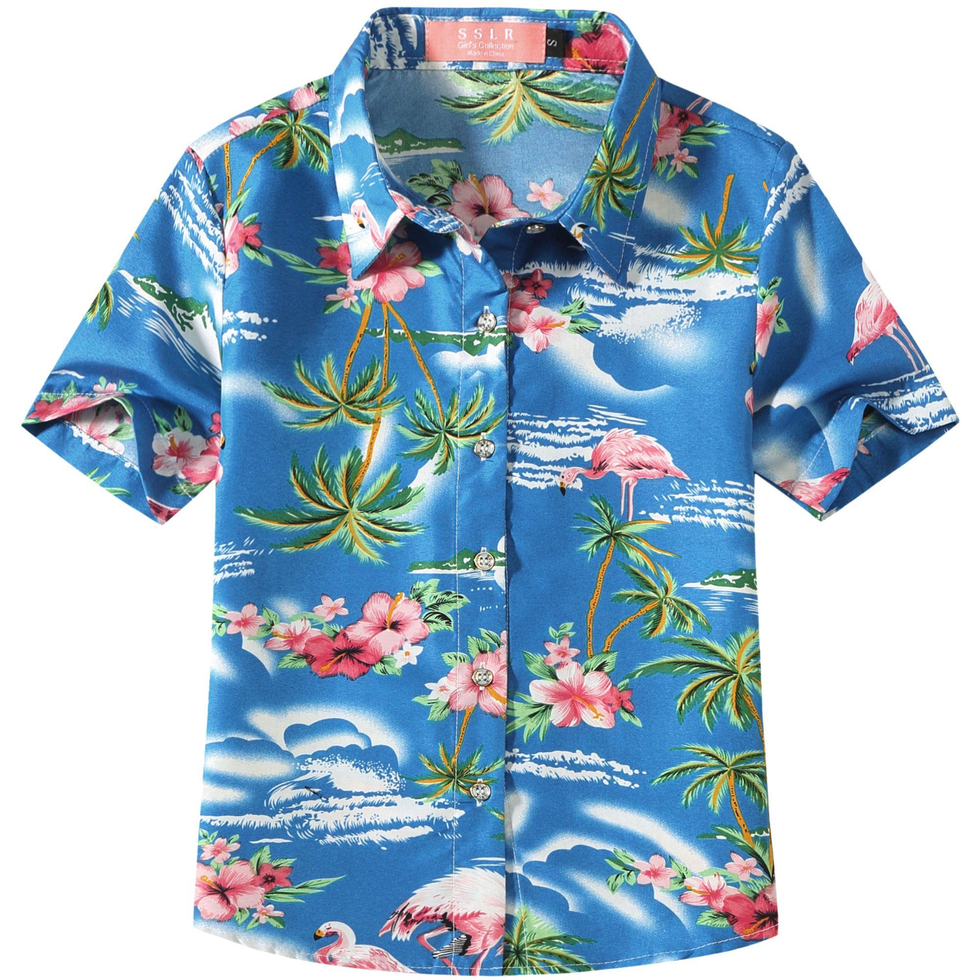 SSLR Big Girls Flamingos Button Down Short Sleeve Hawaiian Shirt