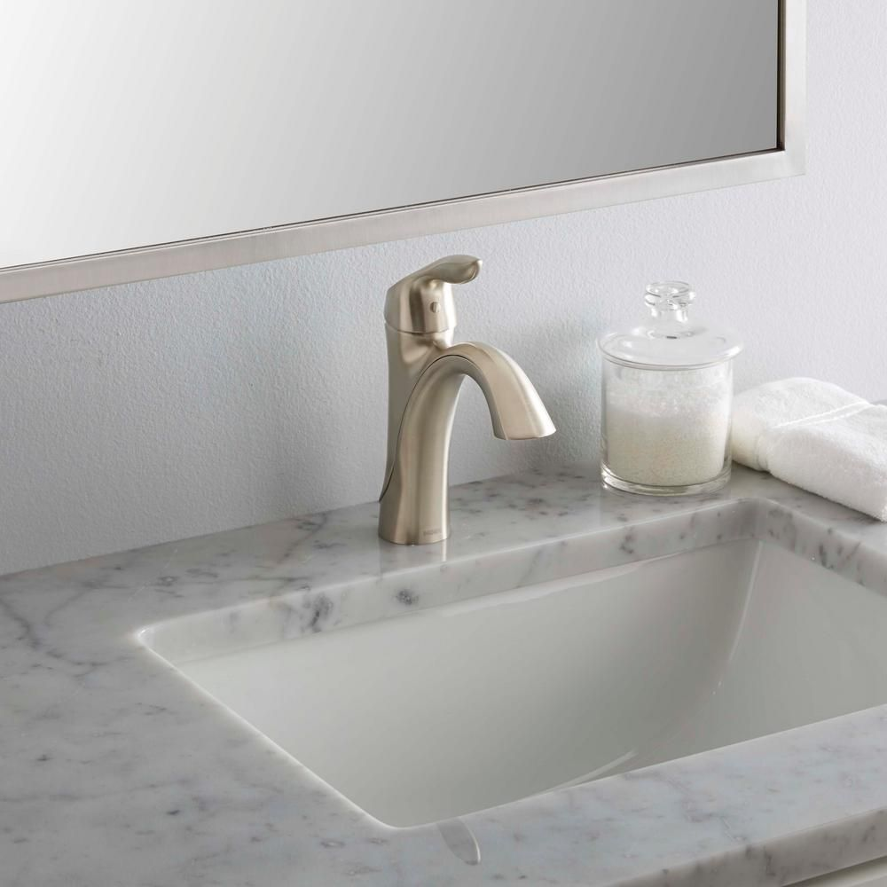MOEN Eva Single Hole Single Handle High-Arc Bathroom Faucet in ...